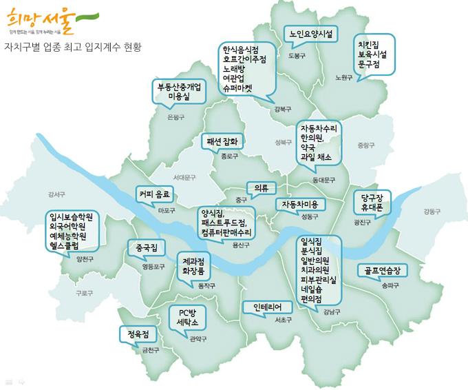 서울시 자치구별 업종 최고 입지계수 현황